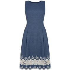 Oasis Denim Broderie Hem Dress, Blue ($72) ❤ liked on Polyvore featuring dresses, sleeveless maxi dress, fit flare dress, mini dress, knee length dresses and blue dress