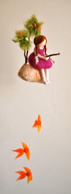 Girls Mobile Waldorf inspired needle felted doll : The fishing girl Waldorf Crafts, Waldorf Dolls, Felt Crafts, Diy And Crafts, Arts And Crafts, Needle Felting Tutorials, Baby Mobile, Felt Fairy, Fairy Dolls