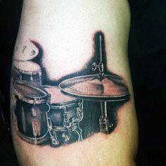 Black Ink Shaded Drum Set Male Tatoto Ideas On Arm