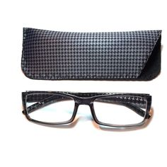 1.75 Reading Glasses Gray Houndstooth With Case