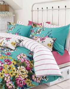 A striking floral double duvet cover in a palette of jade, mustard, cream and fuchsia, Cambridge Floral by Joules Bedding brings warm colour to wintry nights Green Duvet Covers, Bed Duvet Covers, Floral Duvet Covers, Green Bedding, Floral Bedding, Bright Bedding, Turquoise Bedding, Colorful Bedding, Neutral Bedding
