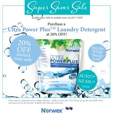 Norwex super saver sale - perfect time to stock up on Ultra power plus laundry detergent!