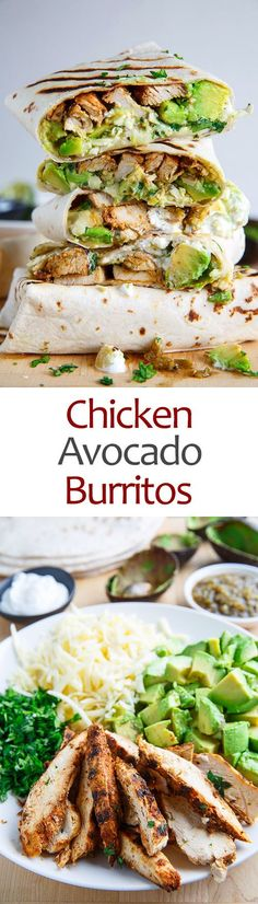 Chicken and Avocado Burritos - use homemade tortillas, Greek yogurt, and homemade seasoning mixes to keep this low-sodium and to enhance the fresh flavors. Chicken Avacado Burrito, Chicken Burritos, Chicken Avacado Sandwich, Chicken Tortilla Wraps, Avocado Chicken Recipes, Chicken Avocado Wrap, Mexican Chicken Recipes, Recipe Chicken, Burritos Poulet