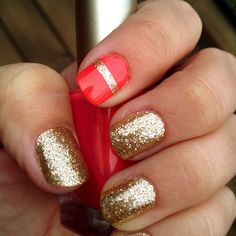 Gold + Red Accent Nail + Gold Stripe <3