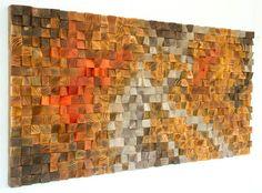 Holz-Wand-Kunst, Modern, 3D Abstrakt dünne Holzstreifen, handgemalt, gefärbt und lackiert. Jedes Stück ist einzigartig in Acryl oder Holz Farbstoff Farben von mir gemalt gemischt und in jedem Shop nicht vorhanden, so dass die Skulptur einzigartig und einzigartig. Jedes Holzstück wird