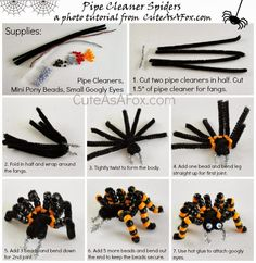 Beaded Pipe Cleaner Spiders is part of Kids Crafts Halloween Pipe Cleaners Today I& sharing a great Halloween craft tutorial that is perfect for kids Well really it& great for anyone, but this is - Halloween Arts And Crafts, Halloween Crafts For Kids, Diy Halloween Decorations, Diy Crafts For Kids, Fall Halloween, Holiday Crafts, Simple Crafts, Halloween Crafts Kindergarten, Fall Kid Crafts