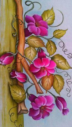 Tole Painting, Fabric Painting, Fabric Paint Designs, Painting Patterns, Acrylic Art, Vintage Flowers, Cute Drawings, Cute Art, Bunt