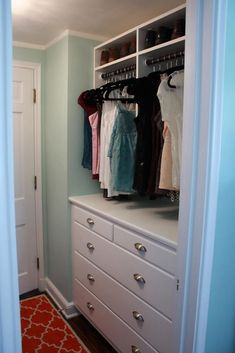 MASTER CLOSET…built in dresser for small master bedroom. Maybe fill it with shoes? Dresser In Closet, Built In Dresser, Closet Redo, Closet Drawers, Closet Remodel, Bedroom Dressers, Walk In Closet, Dresser Drawers, Closet Paint