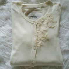 "SALE Abercrombie & Fitch Cream Cardigan Gorgeous Abercrombie & Fitch Cream Cardigan with Beautiful Floral Design 21"" from top of shoulder to bottom 17"" from armpit to armpit 27"" Sleeve length Great Condition Abercrombie & Fitch Sweaters Cardigans"