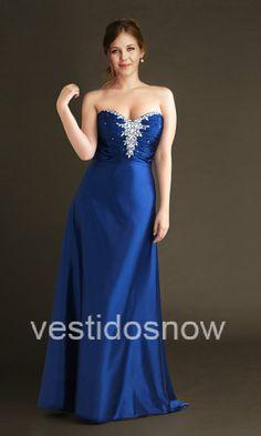 azul largo vestido de fiesta