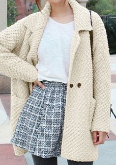Oversized Beige Sweater Cardigan - With Front Double Snap Buttons