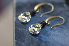 Crystal Earrings Swarovski Aurora Borealis Sparkle Gold Copper Multi Color Wedding Mother of the Bride Bridesmaid Evening Faceted Crystal by BrownSugarCube on Etsy