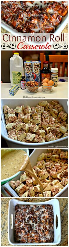 Roll Casserole: Create something full of cinnamon roll goodness in a breakfast casserole form! Think cinnamon rolls meet french toast and you're good to go! Köstliche Desserts, Delicious Desserts, Dessert Recipes, Yummy Food, Tasty, Breakfast Dishes, Breakfast Recipes, Breakfast Casserole, Breakfast Ideas
