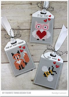 Stamps: From the Heart, Critter Clan, I'm Owl Yours Die-namics: Cross-Stitch Tag, Tag Builder Blueprints 5 Karolyn Loncon Stitching On Paper, Cross Stitching, Cross Stitch Embroidery, Cross Stitch Patterns, Small Cross Stitch, Cross Stitch Cards, Cross Stitch Owl, Paper Embroidery, Embroidery Patterns