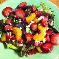 My favorite salad. Spring mix, strawberries, mandarin oranges, feta, craisens, pecans and raspberry vinegarette or poppy seed dressing. YUM ...
