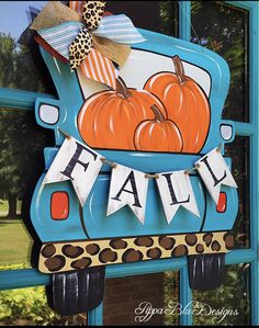 Excited to share this item from my shop: Turquoise Fall Truck Painted Letters, Painted Doors, Hand Painted, Painted Signs, Fall Wooden Door Hangers, Teacher Door Hangers, Wooden Welcome Signs, Wooden Signs, Pumpkin Door Hanger