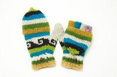限量一件手織純羊毛保暖手套 / 可拆卸手套 - 藍黃民族圖騰 - omhandmade | Pinkoi