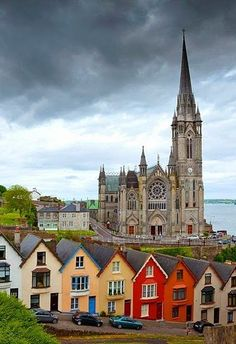 St Colmans Cathedral Cobh, County Cork, Ireland. St Colman's Cathedral took 47 years to build and finally opened in 1911. Its spire stands 100m tall and the tower houses 42 bells, comprising the largest carillon in Ireland.