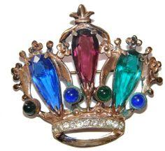 Jeweled Crown Pin brooch Sterling Silver by DaffysLanding on Etsy, $55.00