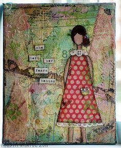 mixed media canvas - love the texture!