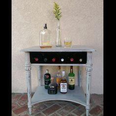 Bar with 6 bottle wine storage #rusticfurniture #refurbishedfurniture #reclaimedfurniture #distressedfurniture #paintedfurniture #diy #upcycledfurniture  #vintage #love #beautiful  #follow #instagood #picoftheday #style #ecofriendly #southernCalifornia #Malibu #la #sfv #valley #hgtv #pinterest #shabbychic #designer #California #losangeles #Ventura #shoplocal #redhead #restoration