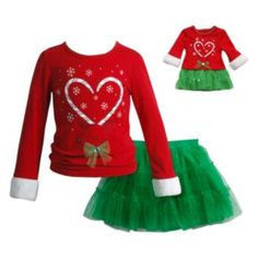 Girls+4-14+Dollie+&+Me+Candy+Cane+Reindeer+Top+&+Skirt+Set
