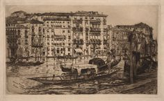 Frank Duveneck (1848-1919) Grand Canal, Venice, 1883 Etching Plate: 300 x 496 mm (11 13/16 x 19 1/2 in.) Achenbach Foundation Provenance: Osgood Hooker retained a life interest. Osgood Hooker deceased December 1968. Accession Number: 1959.124.12 Acquisition Date: 1959-12-31 Credit Line: Gift of Osgood Hooker de Young