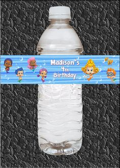 Custom Bubble Guppies Birthday Party Water Bottle Labels Wraps - Water Resistant (15pcs) $12