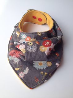 3bc606319cd Girl s Bandana Bib - Yellow Grey Pink  amp  Red Flower Slouchy Style Drool  Bib -