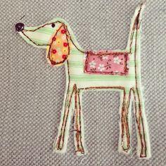 Long legged dog! #stitch #fabric
