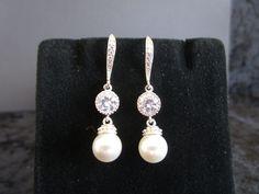 Pearl Bridal Earrings, Swarovski Pearl Earrings,Pearl Drop Earrings,Cubic Zirconia,Bridesmaid Earrings,White Pearl Earrings, Pearl Jewelry by Uniquebeadables on Etsy