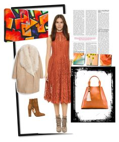 Orange lace by steffyyeah on Polyvore featuring polyvore, fashion, style, MANGO, Aquazzura, Free People and Oliveve