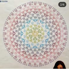 Best 10 Crochet Mandala + Diagram + Free Pattern Step By Step – SkillOfKing. Motif Mandala Crochet, Crochet Circles, Crochet Doily Patterns, Crochet Diagram, Crochet Stitches, Crochet Circle Pattern, Tutorial Crochet, Crochet Doilies, Crochet Carpet