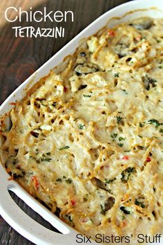 Chicken Tetrazzini Casserole on SixSistersStuff.com | Warm and delicious casserole your entire family will love! Try it with turkey if you're tired of chicken.