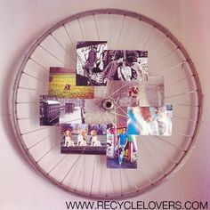 Recycle a bicycle rim: wall photo holder! - Recycle Lovers