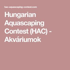 Hungarian Aquascaping Contest (HAC) - Akváriumok