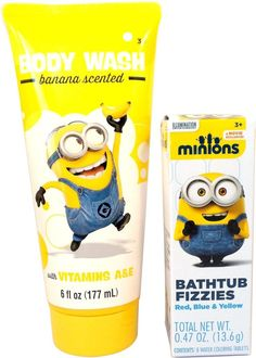 Despicable Me Minions 6 fl oz Banana Scented Body Wash and 8 Bathtub Fizzies #MZB