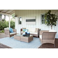 Huntington Caramel 5-piece Outdoor Furniture Set | Overstock.com Shopping - The Best Deals on Sofas, Chairs & Sectionals