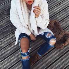 Jeans and sweater. Classic!