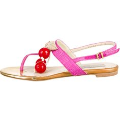 Pre-owned Stella McCartney Straw Cherry Embellished Sandals ($125) ❤ liked on Polyvore featuring shoes, sandals, neutrals, block heel sandals, ankle strap sandals, pink sandals, pink shoes and buckle shoes