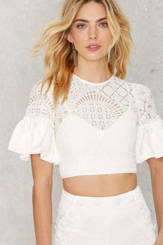 ASILIO Ruffle Around the Edges Lace Crop Top - Cropped