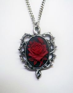 Red Rose Black Cameo Necklace