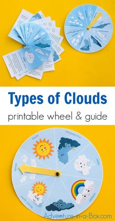 Different Types of Clouds for Kids: Wheel & Cloud Identification Guide - Use this printable cloud wheel with a printable cloud identification guide to teach different types - Weather Activities For Kids, Preschool Weather, Creative Activities For Kids, Preschool Science, Kindergarten Activities, Science For Kids, Science Activities, Projects For Kids, Earth Science