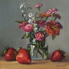 Original Oil Painting - Summer Strawberries & Zinnias - Elizabeth Floyd - 8 x 8 inches - Framed Painting