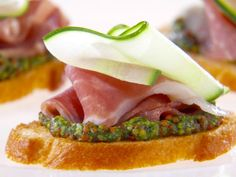 As seen on Giada at Home: Prosciutto and Cucumber Crostini with Arugula Mustard