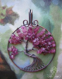 Pink Tourmaline Tree of Life Wire Wrapped Pendant Jewelry
