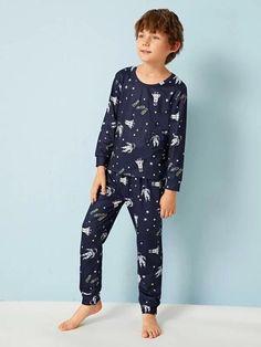 Boys Space Print PJ Set – Agodeal Barefoot Kids, Satin Pj Set, Sleepwear & Loungewear, Boys Pajamas, Pj Sets, Spandex Material, Pajama Set, Lounge Wear, Long Sleeve