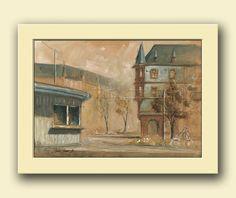 Frankfurt am main city - Bornheim Nordend cityscape architecture - germany original art wall - Original watercolor painting- Juan Bosco