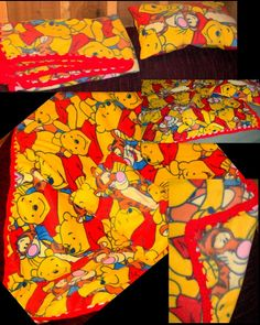 Baby Fleece blanket with crochet border and matching pillow in Pooh print.