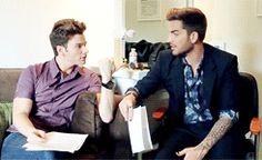 Adam Lambert and Chris Colfer on the set of The Talk